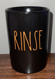 """Rae Dunn Halloween """"RINSE"""" Cup Black With Orange New"""