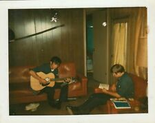Vintage Photo Snapshot Guys Playing Guitar Hanging Out Music Buddies 1970