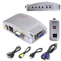 VGA to AV TV RCA Composite Converter Adapter S-video Box for PC Laptop Wind P7P9