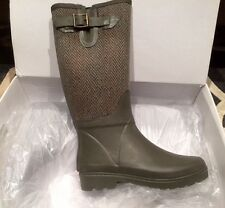 NEW BANANA REPUBLIC ENGLISH RIDING HUNTER GREEN KHAKI RUBBER RAIN BOOTS SIZE 7M