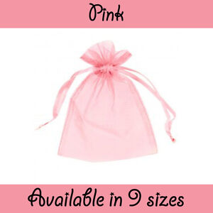 Pink Organza Gift Pouch Wedding Favour Jewellery Bags from 1 - 500 in 9 Sizes!