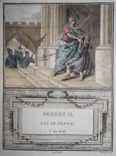 Robert II Roi France EAU FORTE SERGENT MIXELLE Gravure Aquatinte 1790