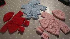 gilet + chapeau + chaussons rouge faits mains compatible corolle/berenguer 36 cm