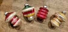 4 Vintage SHINY BRITE Mercury Glass Figural Ornament Ribbed Lantern Snow Frosted
