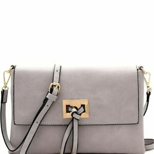 Knot Accent Soft PU Leather Classy Clutch Bag with Crossbody Strap