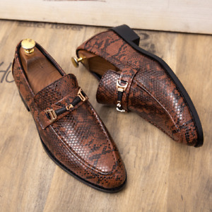 Mens Snakeskin Pointed Toe Slip On Loafers Business Casual Party Dress Shoes