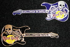 Hard Rock Cafe TAIPEI 1999 HALLOWEEN PINS Skeleton GUITARS Bronze & Silver #9635