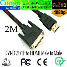 10M Full HD DVI-D 24+1 to HDMI Cable Male / Male Gold-Plated Braided TV Monitor
