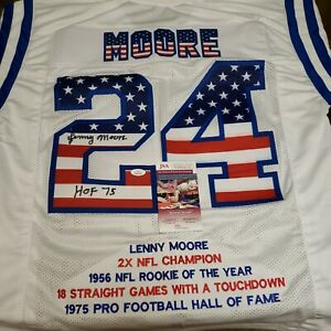 💥HOF💥LENNY MOORE🤩SIGNED 🤩COLTS USA 🇺🇸 STAT🤩JERSEY 🏈JSA💥COA & HOLOGRAM💥