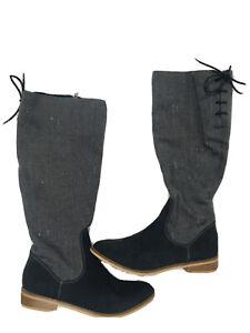 Rocket Dog Moore Gray Tweed Suede Western Boots 10 Tall Boot Suede Herringbone