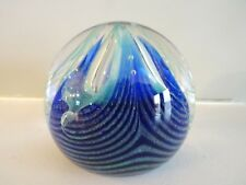 Signed Caithness Art Glass Scotland FEATHERS Paperweight Pulled Feather Blue
