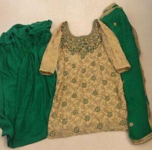Ladies Womens Indian Punjabi Trouser suit 3 piece Salwaar Green Gold Frontier