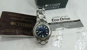 Citizen Eco-Drive Blue Dial Stainless Steel Watch WR100 E110-K16385 Needs Repair