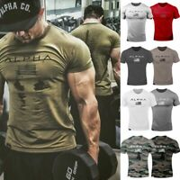 Mens Stylish Cotton Sport T-shirt Gym Fitness Singlet Slim Muscle Short Sleeve