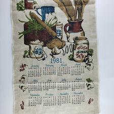 1981 Linen Fabric Wall Calendar Tea Towel Kitchen Spices Vintage Collectible Euc