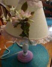 Girl's Lamp with Shade Girls Room White purple wood base,shade flowers & lace
