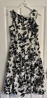 Laura Ashley Size 12 Midi Dress Fit Flare Tea Dress Vintage Black White Floral