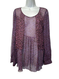 Cabi #823 Sonnet Blouse Sheer Floral Babydoll 100% Silk Plum Purple Size M