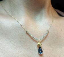 1ct gray Diamond 3ct London Blue Topaz briolette 14k gold pendant necklace