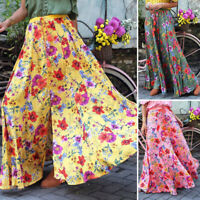 ZANZEA Womens Casual Loose Summer Skirts Long Maxi Floral Elastic Waist Dress