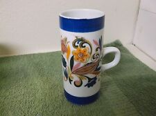 """Arnart 5th Avenue 5 1/2"""" Tall Mug with Flowers with Blue trim on top and bottom"""