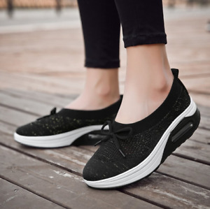 SHOPNow - Women Shoes Sneakers Casual Soft Mesh Breathable Swing Wedges 50%