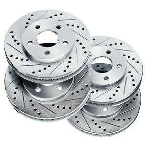 Brake Rotors [2 Front + 2 Rear] POWERSPORT *DRILLED & SLOTTED* DISC BN06403