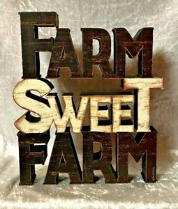 "Primitives Farm Sweet Farm Sign - 7"" tall X 6"" wide - NEW   s"
