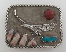 Magnificent Handmade Sterling Silver & Cast Eagle Western Belt Buckle