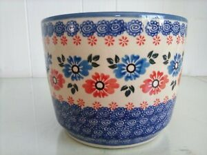 Wiza Ceramika Blue White Ceramic Planter Pot Floral Pattern Handmade in Poland