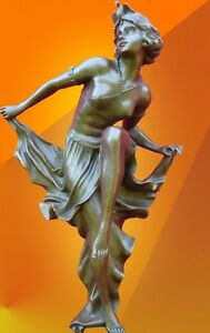 BRONZE GORY DANCER STATUE SIGNED NOUVEAU SCULPTURE HOT CAST FIGURINE FIGURE
