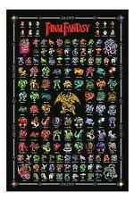 Final Fantasy 1 Retro Nintendo NES Style Poster Fiends Chaos Monsters Heroes FF1