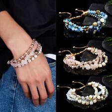 Boho Multi-layer Crystal Beads Tassel Bracelet Bangle Stretch Lady Jewelry Gifts