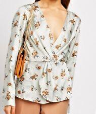 Ladies Ditsy Floral Mock Wrap Long Sleeves Blouse Top Elasticated waist NEW LOOK
