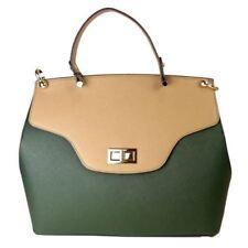 Cristina Sabatini Natalie Satchel Epi Leather Handbag Pine Green Taupe Removable