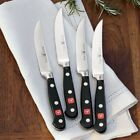 """WUSTHOF """"Classic"""" Steak Knives SET of 4 GERMAN 5"""" blades BLACK WOOD HANDLES $352"""