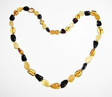 Genuine Baltic amber adult necklace, multicolor leaves beads 45 cm /17.72 inch