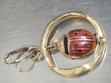 18K GOLD JEWELRY PENDANT WITH RED LADY BUG ENAMEL HANDMADE