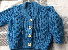 brand new hand knitted baby cardigans 3 - 6 months Aran Style  Blue Boy Or Girl