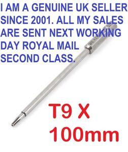 "1/4"" Hex Shank 100mm Long T9 Magnetic Torx Security Screwdriver Bit"