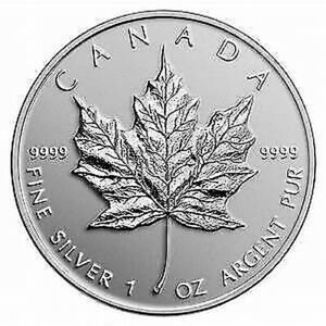 Five Dollar Canadian Maple Leaf Pure Silver BU Coin