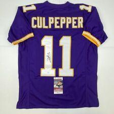 Autographed/Signed DAUNTE CULPEPPER Minnesota Purple Football Jersey JSA COA