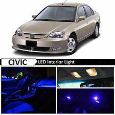 2001-2005 Honda Civic Sedan Coupe Blue Interior + License LED Light Package