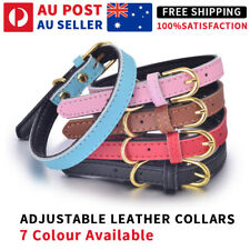 Leather Collar Cat Kitten Dog Puppy Pet safety release adjustable bell 6 colours