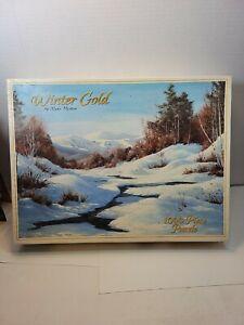 Winter Gold Myke Morton 1000 Pieces - White Mountain Puzzles - OPEN Brook Snow