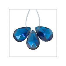 6 Cubic Zirconia Flat Pear Briolette Beads 6x9mm Dark Sapphire Blue #64942