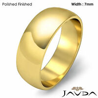 7mm 18k Yellow Gold Women Wedding Solid Band Dome Plain Ring 7.5gram Size 7-7.75