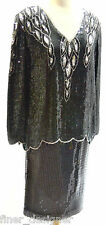 Silk Heavy Sequined India Black Cocktail Dress Top by Royal Feelings L Skirt 12