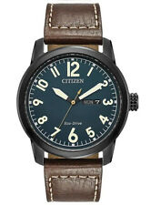 Citizen BM8478-01L Men's Eco Drive Chandler Brown Leather Band Blue Dial Watch
