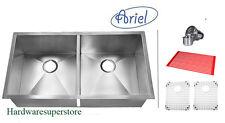 "37"" Stainless Steel UNDERMOUNT Zero Radius DOUBLE BOWL 50/50 Kitchen Sink Ariel"